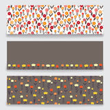 Banner floral pattern. Three banner with floral pattern. Submitted as a set. Banners with a pattern of small decorative flowers. There are fields for labels Stock Photos