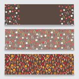 Banner floral pattern. Three banner with floral pattern. Submitted as a set. Banners with a pattern of small decorative flowers. There are fields for labels Royalty Free Stock Photography