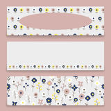 Banner floral pattern. Three banner with floral pattern. Submitted as a set. Banners with a pattern of small decorative flowers. There are fields for labels Stock Photography