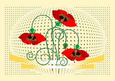 Banner with flover poppy. Background. Banner. Wall Royalty Free Stock Images
