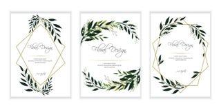 Banner on flower background. Flyer for wedding invitation. Natural botanical Greeting editable template. Geometrical golden Frame, border vector illustration