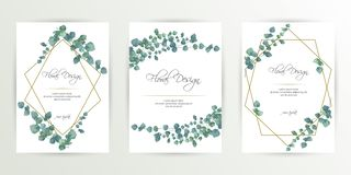 Banner on flower background. Wedding Invitation, modern card Design. Save the Date Card Templates Set with Greenery, Decorative royalty free illustration