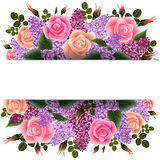Banner with flowers. Illustration of horizontal banner with roses and lilac flowers Stock Images