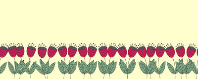 Banner with flowers. Red flat bellflowers seamless border. Royalty Free Stock Images