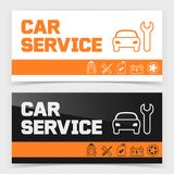 Banner or flyer design with car service icons Royalty Free Stock Image