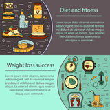 Banner or flyer template. Weight Loss, Diet card. Fitness and health collection. Thin line design. Vector pictograms Stock Images