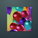 Banner with flying balloons. Iridescent banner with flying balloons. Applicable for banner, invitation, flyer, greeting card design. Vector illustration Stock Photos