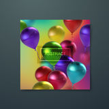 Banner with flying balloons. Iridescent banner with flying balloons. Applicable for banner, invitation, flyer, greeting card design. Vector illustration Royalty Free Stock Photography
