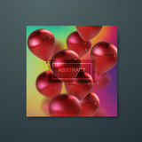 Banner with flying balloons. Iridescent banner with flying balloons. Applicable for banner, invitation, flyer, greeting card design. Vector illustration Stock Image