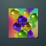 Banner with flying balloons. Iridescent cover with flying balloons. Applicable for banner, invitation, flyer, greeting card design. Vector illustration Stock Photo