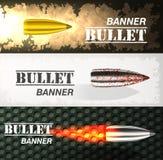 Banner of flying bullet ob military background concept. Danger vector illustration design set Royalty Free Stock Photos