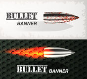 Banner of flying bullet ob military background concept. Danger vector illustration design set Royalty Free Stock Image