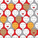 Banner fools day. Smiling crowd. Seamless pattern with spectators, supporters, voters, citizens. Background with smileys. Vector illustration Royalty Free Stock Image