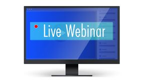 Free Banner For Live Webinars. Computer Monitor With Online Platform On Screen. Concept For Online Courses Or Education Stock Images - 191655744