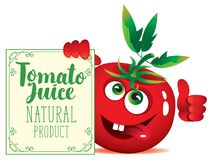 Free Banner For Tomato Juice With Cute Character Tomato Royalty Free Stock Image - 106199356