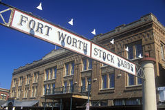 Banner at the Fort Worth Stock Yards with historic hotel, Ft. Worth, TX Royalty Free Stock Photos