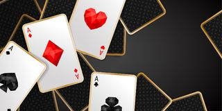 Banner with four aces playing cards suits. Winning poker hand Stock Illustration