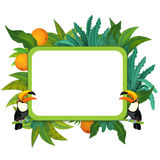 Banner - frame - border - jungle safari theme - illustration for the children. The happy and colorful illustration for the children Stock Photo
