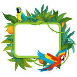 Banner - frame - border - jungle safari theme - illustration for the children. The happy and colorful illustration for the children Royalty Free Stock Images