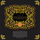 Banner or frame with oak branch leaves and acorn on black background. Royalty Free Stock Image