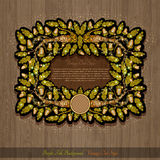 Banner or frame with oak branch leaves and acorn on wood background. Shiny banner or frame with oak branch leaves and acorn on wood background stock illustration
