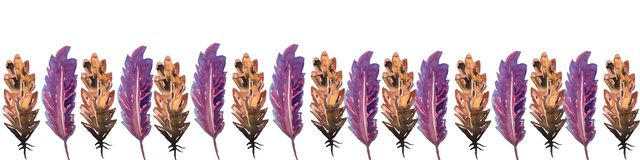 Banner frame in an ornament of bird feathers of brown and lilac flowers. watercolor hand technique, a great option for the design stock illustration