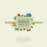 Banner with fresh berries and fruits. Concept organic food. Banner with different fresh berries on a fabric background with polka dot. Concept organic food vector illustration