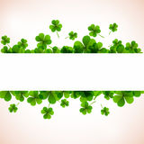 Banner. Fresh green leafs clover with ribon. Stock Photography