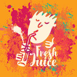Banner for fresh juice on the abstract background. Vector banner with the little man who drinking fresh juice from a glass through a straw and inscription on the Royalty Free Stock Photo