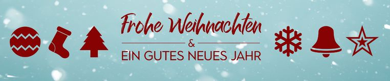 Banner - Frohe Weihnachten und ein gutes neues Jahr - Merry Christmas and Happy new year in german royalty free illustration