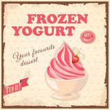 Banner frozen yogurt. Vector illustration banner with strawberry frozen yogurt in the bowl on the vintage background and text Try it, best quality. Image for Royalty Free Stock Photography