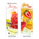 Banner with fruit in water splashes Stock Photo