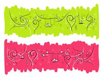 Banner with funny birds and cats for your design Stock Image