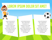 Banner with funny cartoon child sportsman. Template advertising brochure with space for text. Kid playing football. Flat design. V Stock Photos