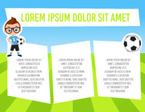 Banner with funny cartoon child sportsman. Template advertising brochure with space for text. Kid playing football. Flat design. V Royalty Free Stock Photo