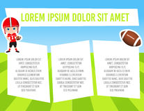 Banner with funny cartoon child sportsman. Template advertising brochure with space for text. Kid playing football. Flat design. V Stock Photography