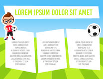 Banner with funny cartoon child sportsman. Template advertising brochure with space for text. Kid playing football. Flat design. V Stock Images