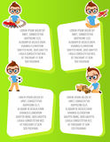Banner with funny cartoon kids. Template advertising brochure with space for text. Young Boy with glasses and toy. Flat design. Ve Royalty Free Stock Photo