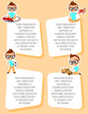 Banner with funny cartoon kids. Template advertising brochure with space for text. Young Boy with glasses and toy. Flat design. Ve Stock Photos