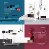 2 Banner Furniture Sale Design Template. Vector Illustration royalty free illustration