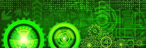 Banner with futuristic technology concept design of green and yellow shades. Abstract futuristic technology banner with gears of green and yellow shades. Digital Stock Image