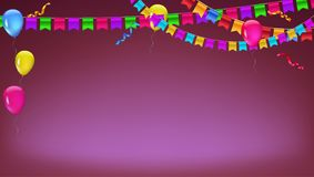 Banner with garland of colour flags, inflatable ballons and serpentine. Vector 3D illustration. Background for poster. Banner, cover, greetings card Royalty Free Stock Photo