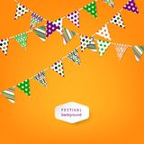 Banner with garland of colour flags. Vector illustration. Royalty Free Stock Image