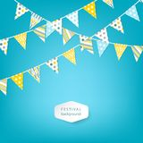 Banner with garland of colour flags. Vector illustration. Stock Photos