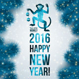 Banner with geometric pattern monkey. New Year Stock Images