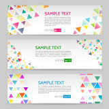 Banner with geometric shape background. Abstract template banner with triangle pattern. Web banner with geometric shape background Stock Photo