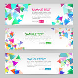 Banner with geometric shape background. Abstract template banner with triangle pattern. Web banner with geometric shape background Royalty Free Stock Photo