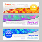 Banner with geometric shape background. Abstract template banner with triangle and round pattern. Web banner with geometric shape background Royalty Free Stock Photos