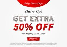Banner Get Extra 50 percent vector illustration.  royalty free illustration