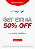 Banner Get Extra 50 percent vector illustration. Creative banner layout for m-commerce, mobile promotions, retail sale materials, coupons, advertising Stock Photography